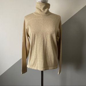 Talbots S Holiday Gold Glitter Sweater Turtleneck